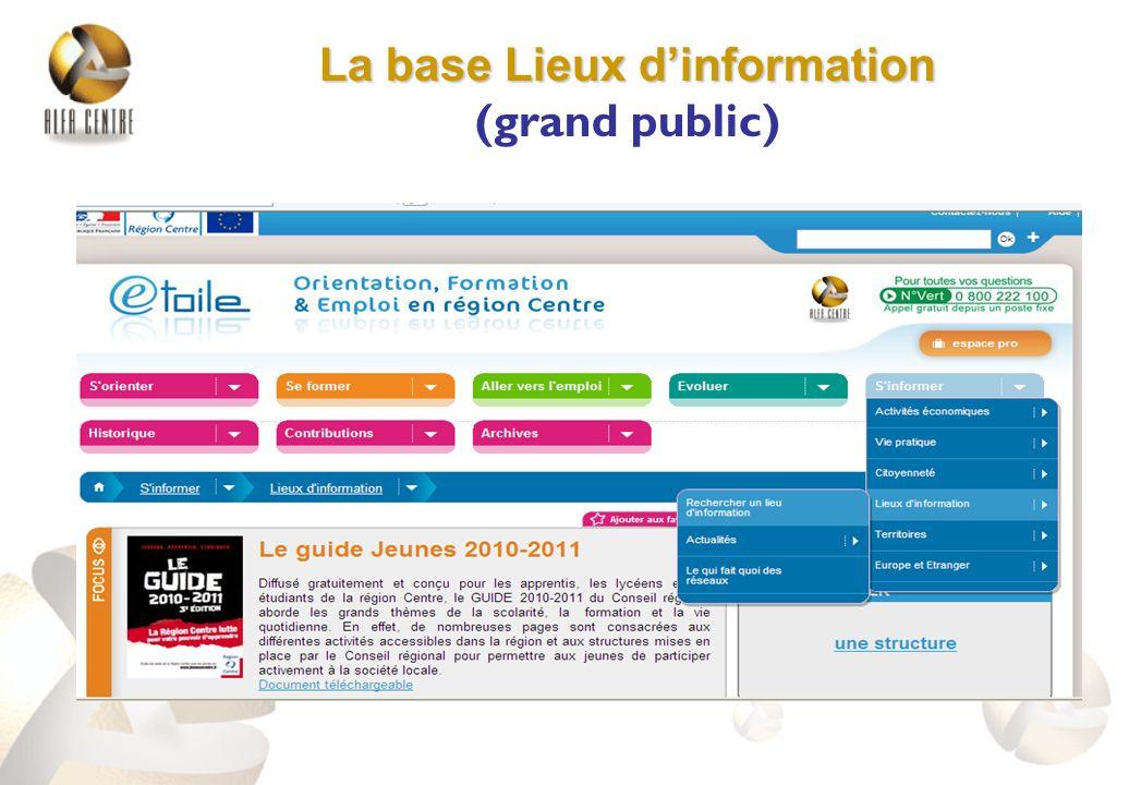 La base Lieux dinformation La base Lieux dinformation (grand public)