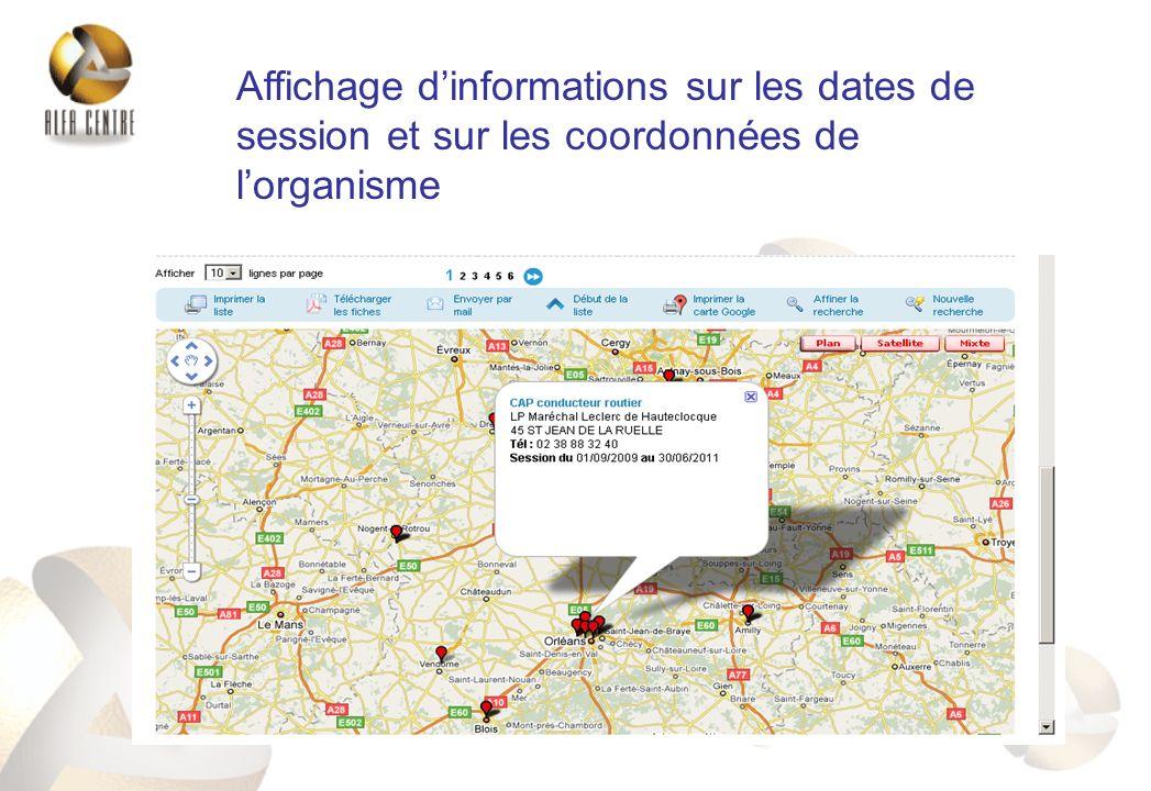 Affichage dinformations sur les dates de session et sur les coordonnées de lorganisme