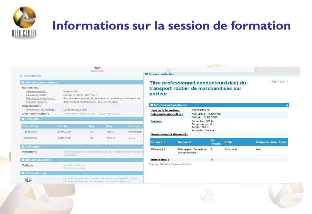 Informations sur la session de formation