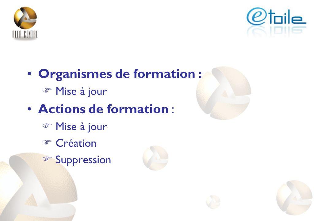 Organismes de formation : Mise à jour Actions de formation : Mise à jour Création Suppression