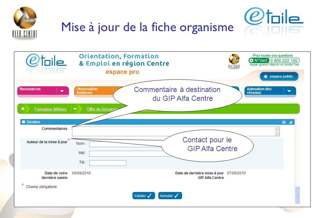 Commentaire à destination du GIP Alfa Centre Contact pour le GIP Alfa Centre