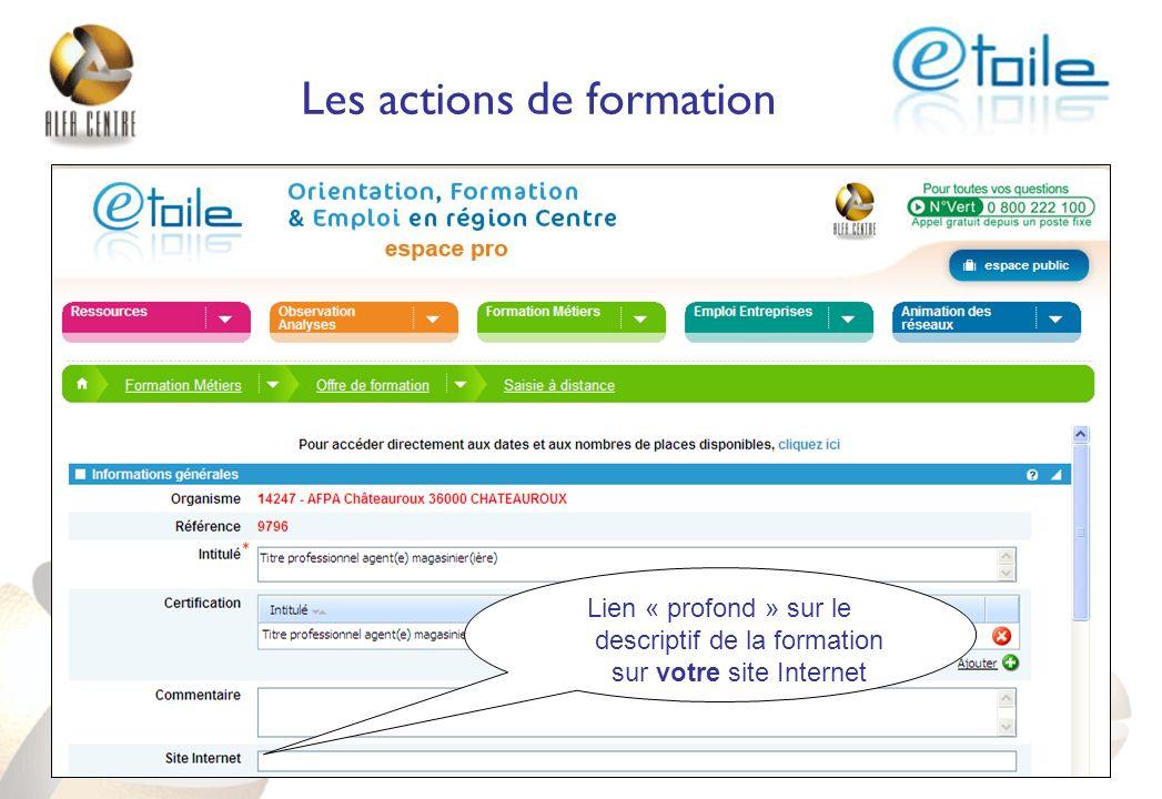 Les actions de formation Lien « profond » sur le descriptif de la formation sur votre site Internet