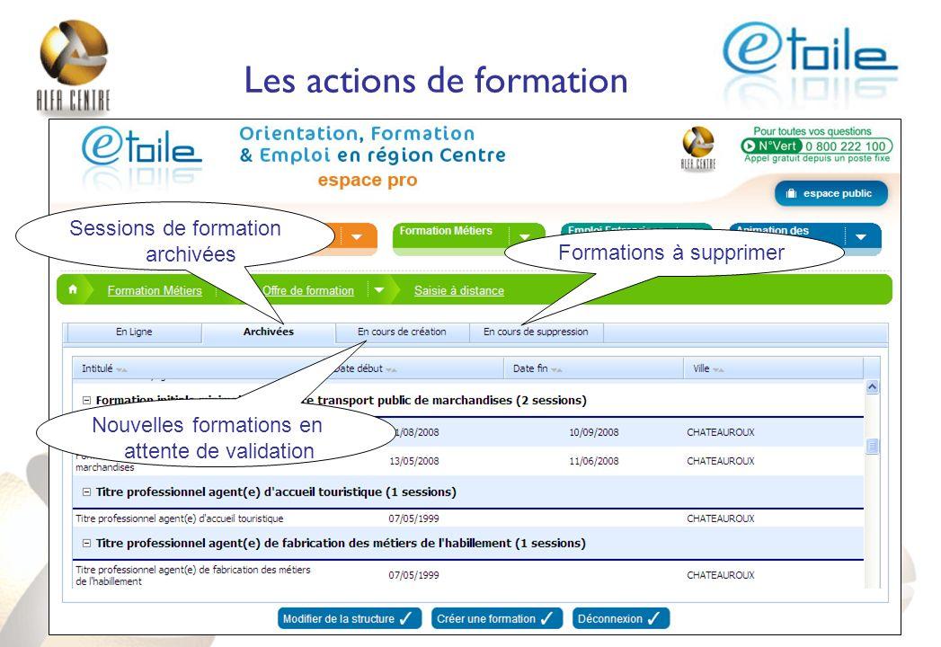 Les actions de formation Sessions de formation archivées Nouvelles formations en attente de validation Formations à supprimer