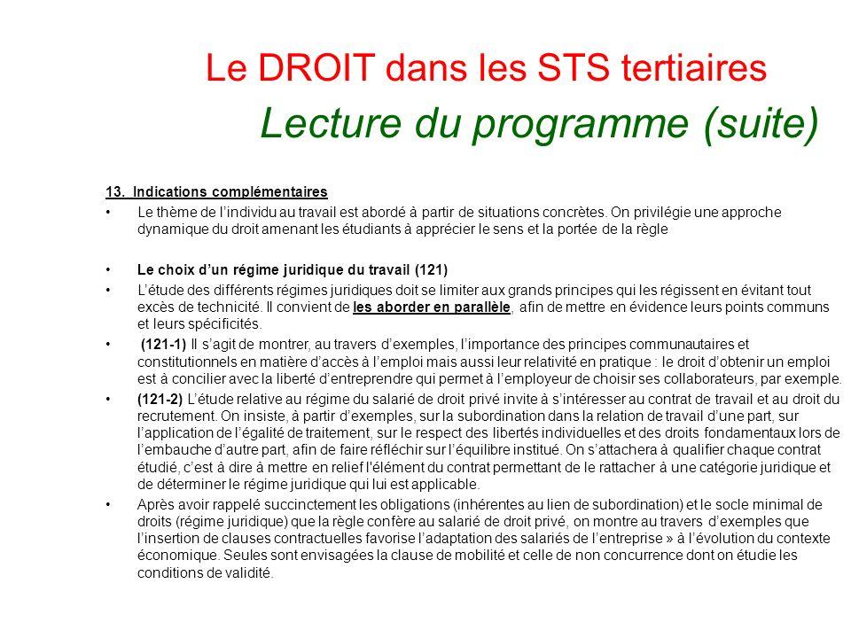 Le DROIT dans les STS tertiaires Lecture du programme (suite) 13. Indications complémentaires Le thème de lindividu au travail est abordé à partir de