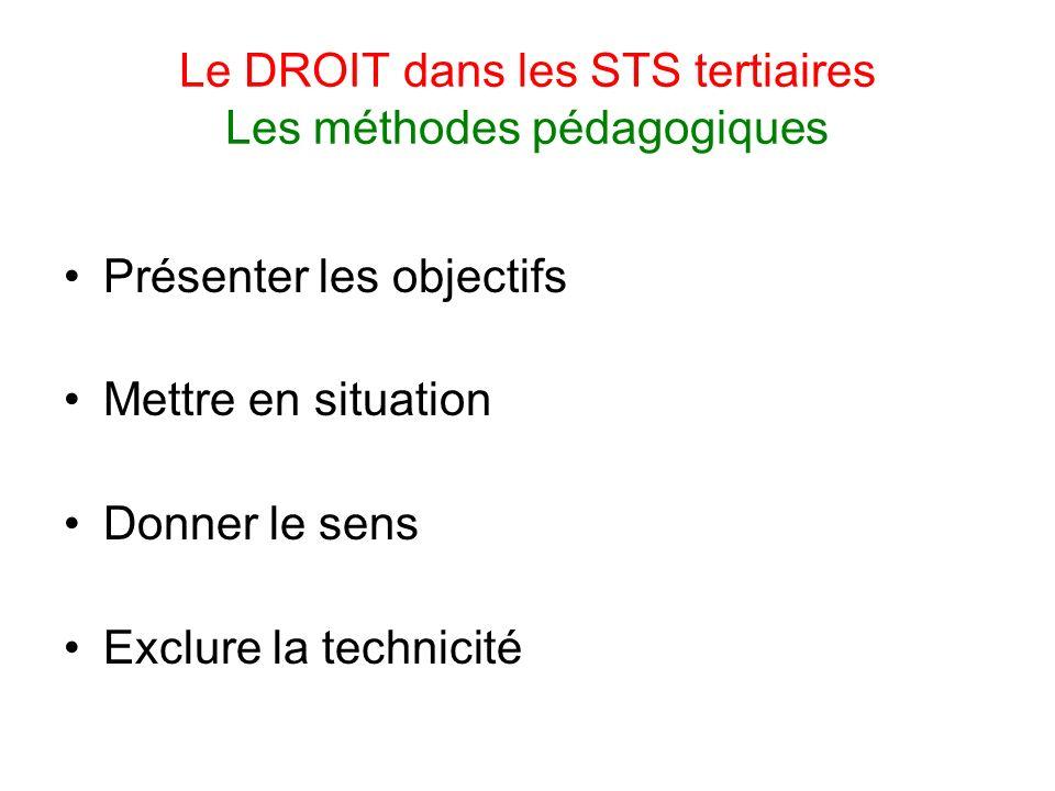 Le DROIT dans les STS tertiaires Les méthodes pédagogiques Présenter les objectifs Mettre en situation Donner le sens Exclure la technicité