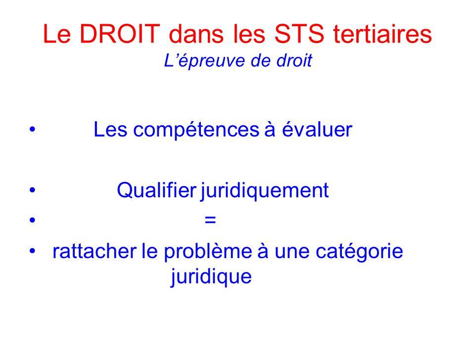 Le DROIT dans les STS tertiaires Lépreuve de droit Les compétences à évaluer Qualifier juridiquement = rattacher le problème à une catégorie juridique
