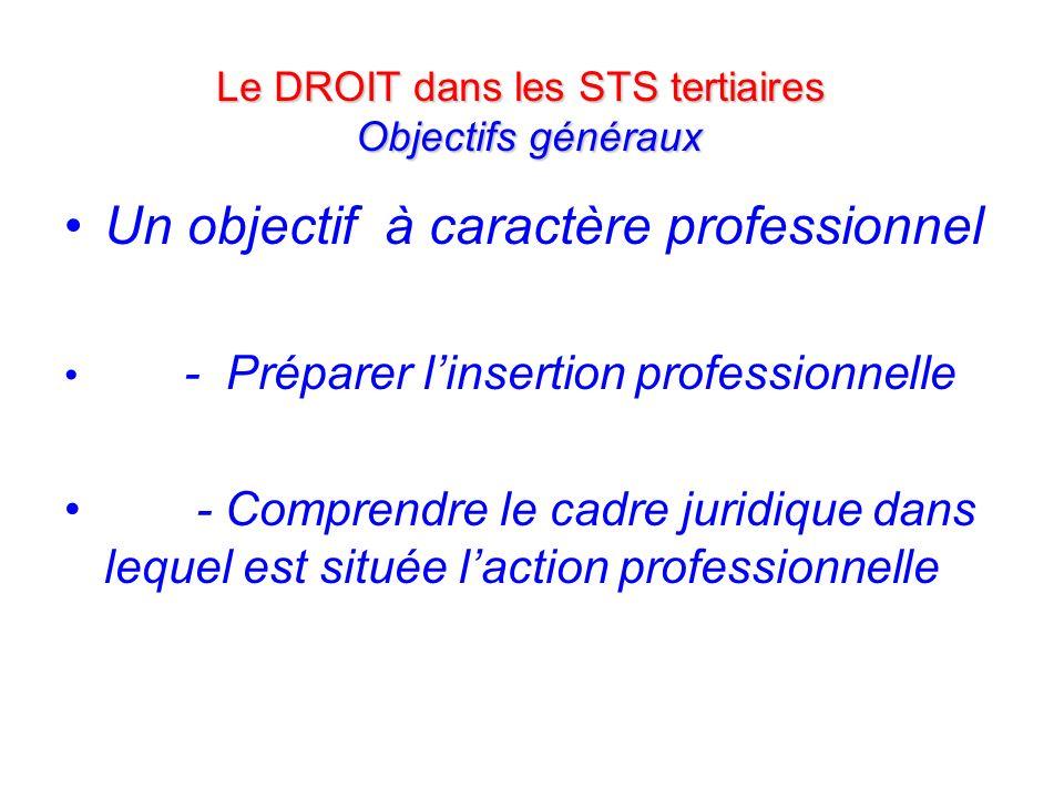 Un objectif à caractère professionnel - Préparer linsertion professionnelle - Comprendre le cadre juridique dans lequel est située laction professionnelle Le DROIT dans les STS tertiaires Objectifs généraux