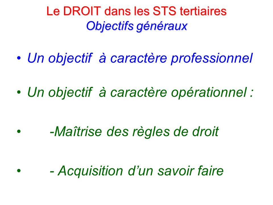 Le DROIT dans les STS tertiaires Objectifs généraux Un objectif à caractère professionnel Un objectif à caractère opérationnel Un objectif à caractère culturel : - Développement de la réflexion - Mesurer les enjeux des règles de droit
