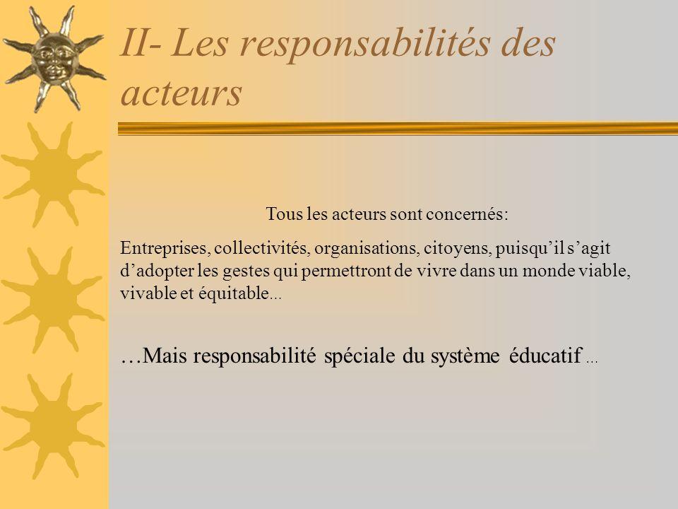II- Les responsabilités des acteurs Tous les acteurs sont concernés: Entreprises, collectivités, organisations, citoyens, puisquil sagit dadopter les