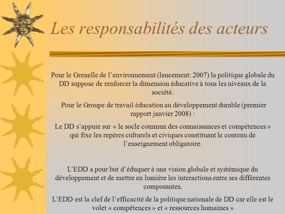 Les responsabilités des acteurs Pour le Grenelle de lenvironnement (lancement: 2007) la politique globale du DD suppose de renforcer la dimension éduc