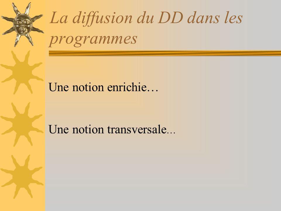La diffusion du DD dans les programmes Une notion enrichie… Une notion transversale …