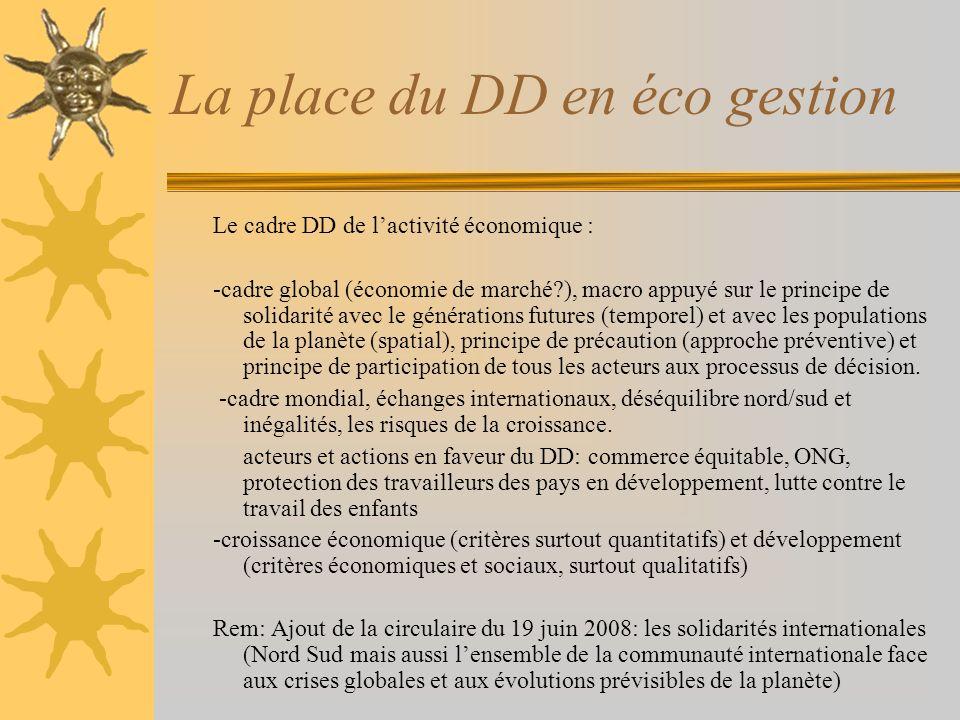 La place du DD en éco gestion Le cadre DD de lactivité économique : -cadre global (économie de marché?), macro appuyé sur le principe de solidarité av