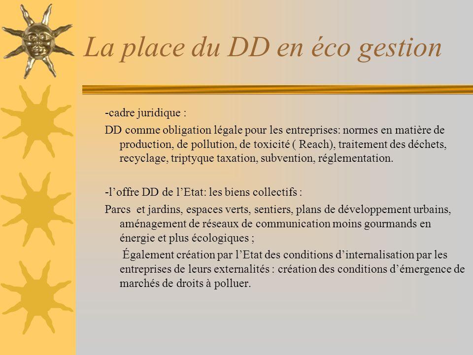 La place du DD en éco gestion -cadre juridique : DD comme obligation légale pour les entreprises: normes en matière de production, de pollution, de to