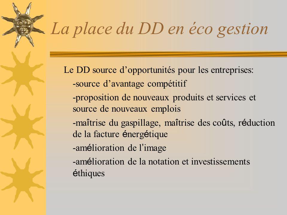 La place du DD en éco gestion Le DD source dopportunités pour les entreprises: -source davantage compétitif -proposition de nouveaux produits et servi