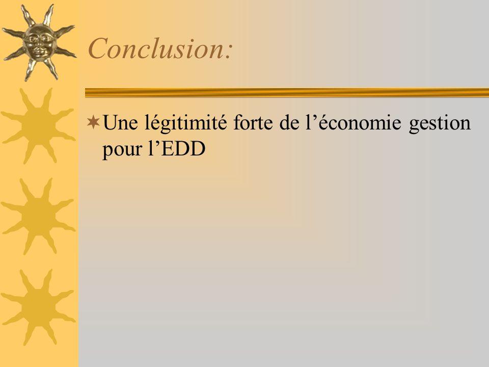 Conclusion: Une légitimité forte de léconomie gestion pour lEDD
