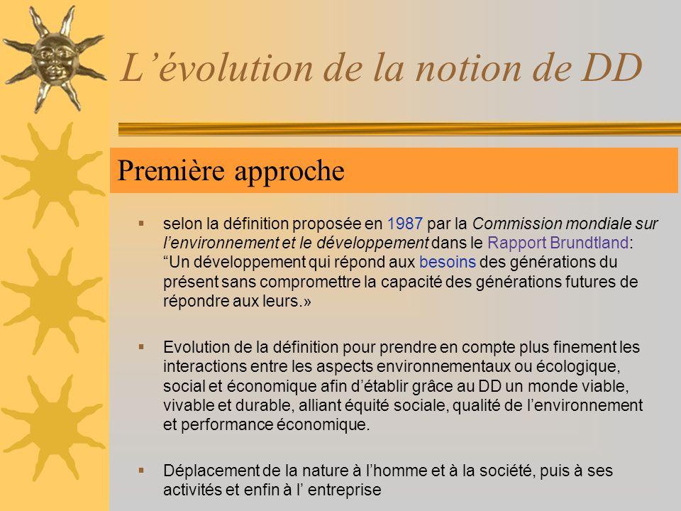 Lévolution de la notion de DD Première approche selon la définition proposée en 1987 par la Commission mondiale sur lenvironnement et le développement