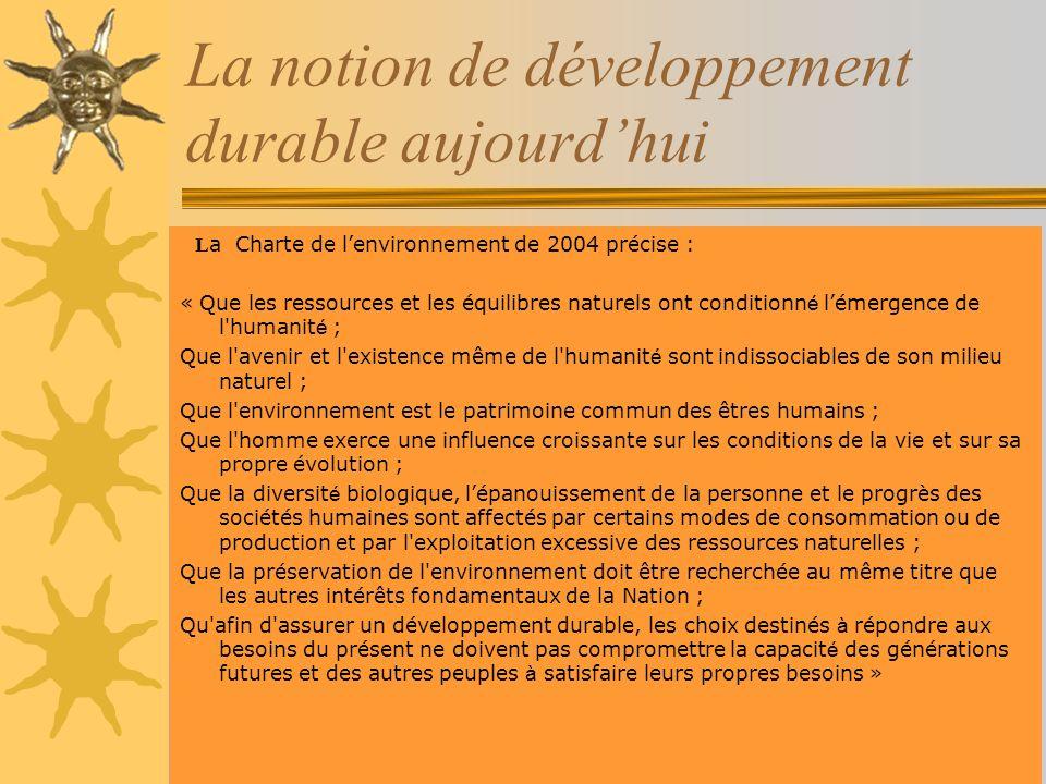 La notion de développement durable aujourdhui L a Charte de lenvironnement de 2004 précise : « Que les ressources et les équilibres naturels ont condi