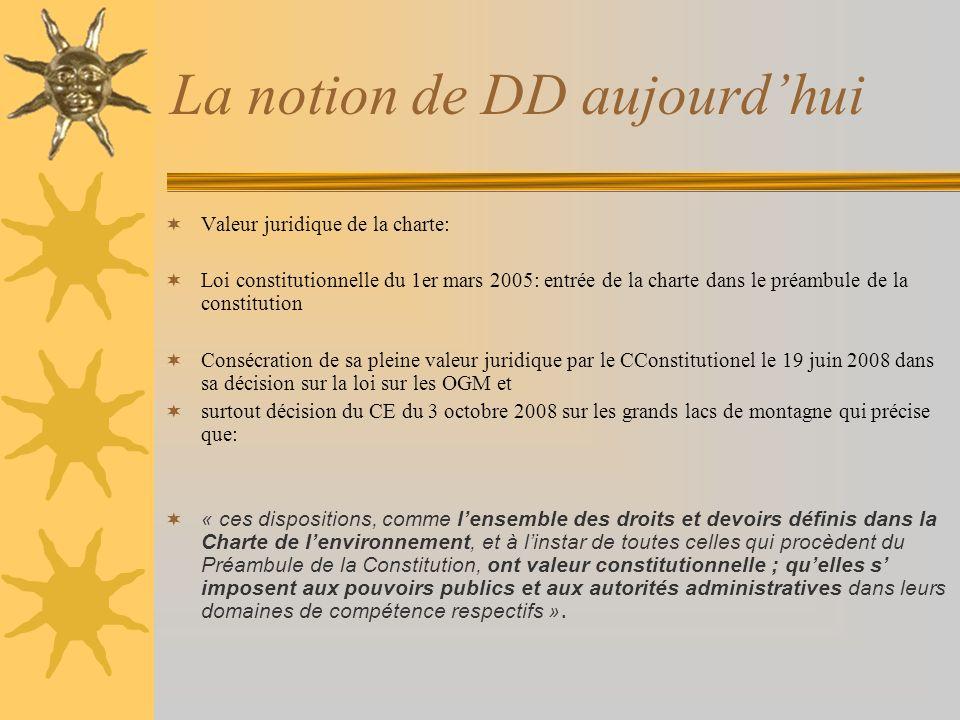 La notion de DD aujourdhui Valeur juridique de la charte: Loi constitutionnelle du 1er mars 2005: entrée de la charte dans le préambule de la constitu
