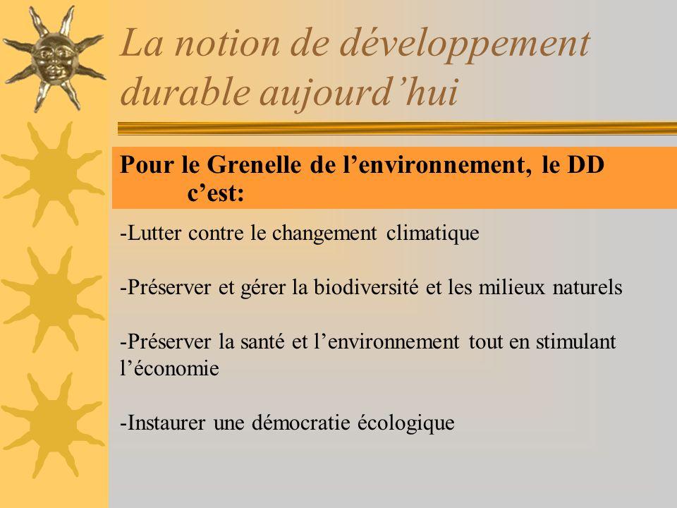 La notion de développement durable aujourdhui Pour le Grenelle de lenvironnement, le DD cest: -Lutter contre le changement climatique -Préserver et gé