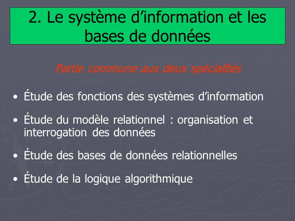 2. Le système dinformation et les bases de données Partie commune aux deux spécialités Étude des fonctions des systèmes dinformation Étude du modèle r