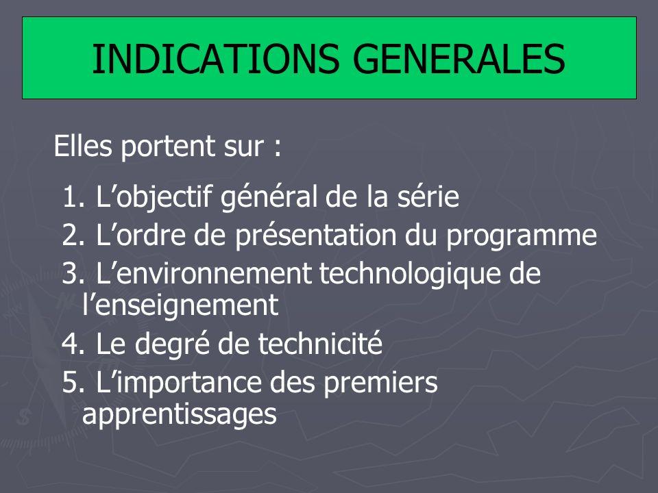 INDICATIONS GENERALES Elles portent sur : 1. Lobjectif général de la série 2. Lordre de présentation du programme 3. Lenvironnement technologique de l