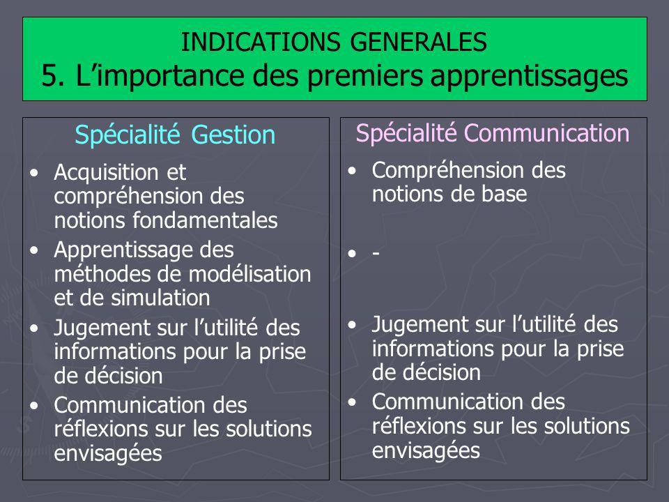 INDICATIONS GENERALES 5. Limportance des premiers apprentissages Spécialité Gestion Acquisition et compréhension des notions fondamentales Apprentissa