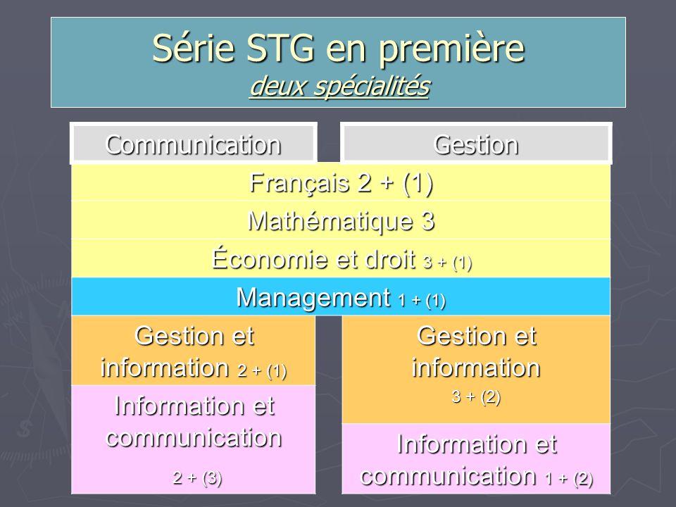 Série STG en première deux spécialités CommunicationGestion Français 2 + (1) Mathématique 3 Économie et droit 3 + (1) Management 1 + (1) Gestion et in