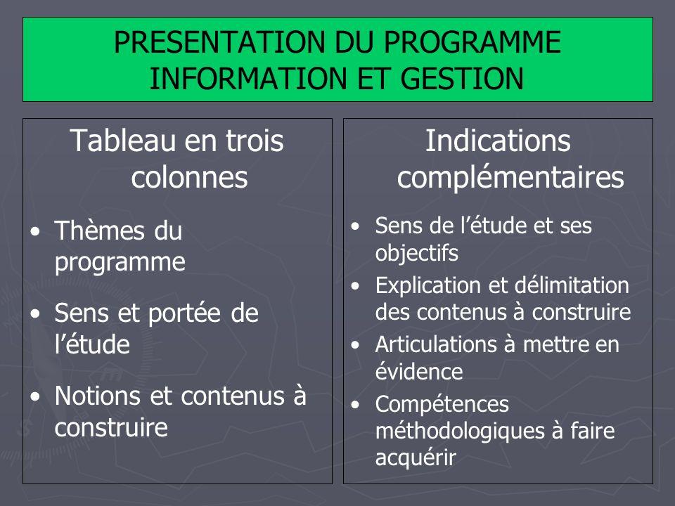 PRESENTATION DU PROGRAMME INFORMATION ET GESTION Tableau en trois colonnes Thèmes du programme Sens et portée de létude Notions et contenus à construi