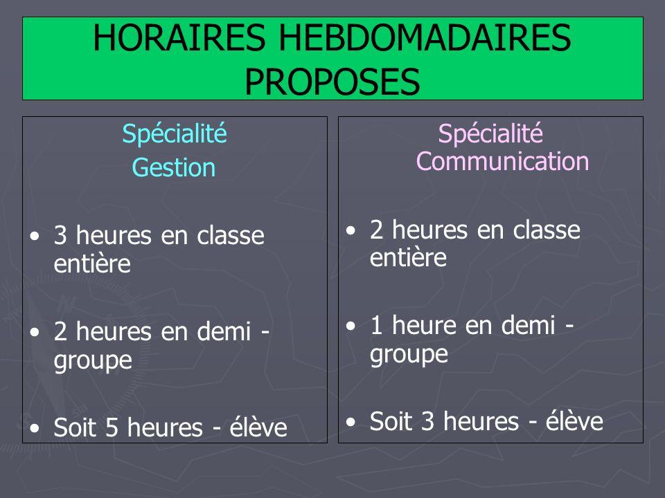 HORAIRES HEBDOMADAIRES PROPOSES Spécialité Gestion 3 heures en classe entière 2 heures en demi - groupe Soit 5 heures - élève Spécialité Communication