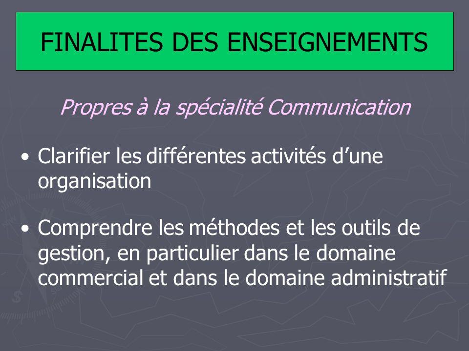 FINALITES DES ENSEIGNEMENTS Propres à la spécialité Communication Clarifier les différentes activités dune organisation Comprendre les méthodes et les