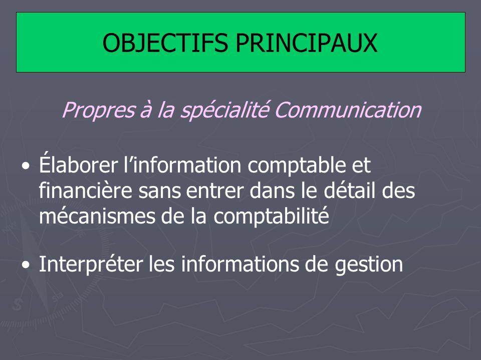 OBJECTIFS PRINCIPAUX Propres à la spécialité Communication Élaborer linformation comptable et financière sans entrer dans le détail des mécanismes de