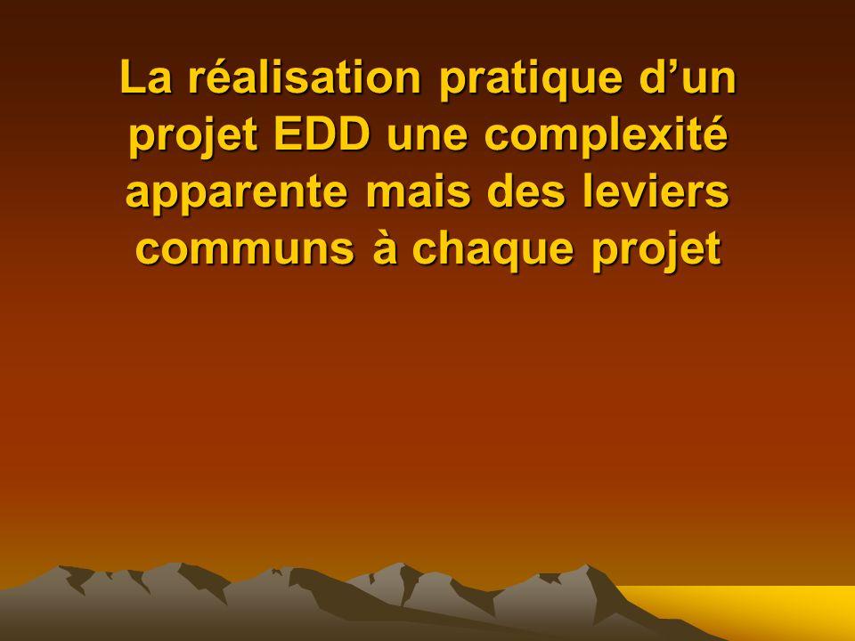 La réalisation pratique dun projet EDD une complexité apparente mais des leviers communs à chaque projet