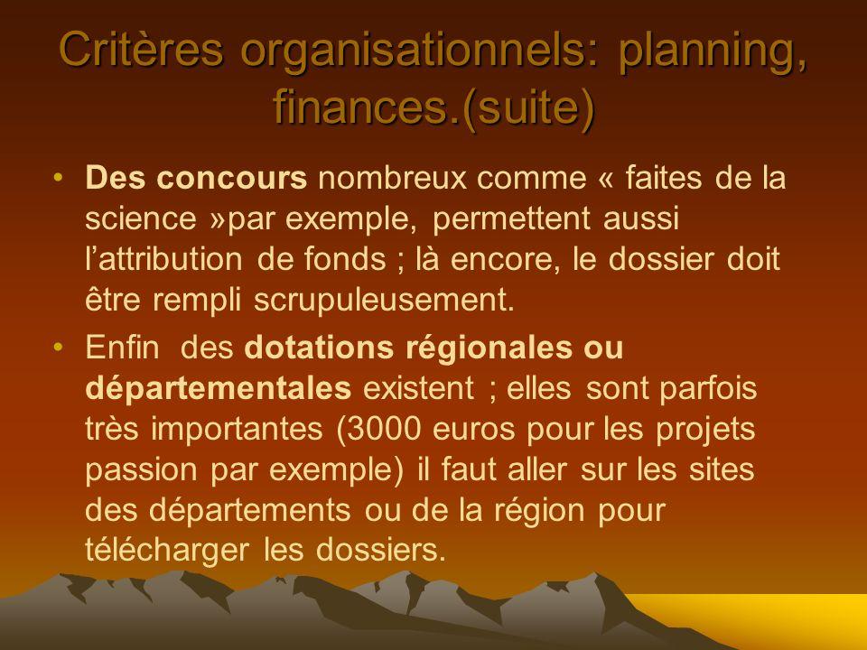 Critères organisationnels: planning, finances.(suite) Des concours nombreux comme « faites de la science »par exemple, permettent aussi lattribution de fonds ; là encore, le dossier doit être rempli scrupuleusement.