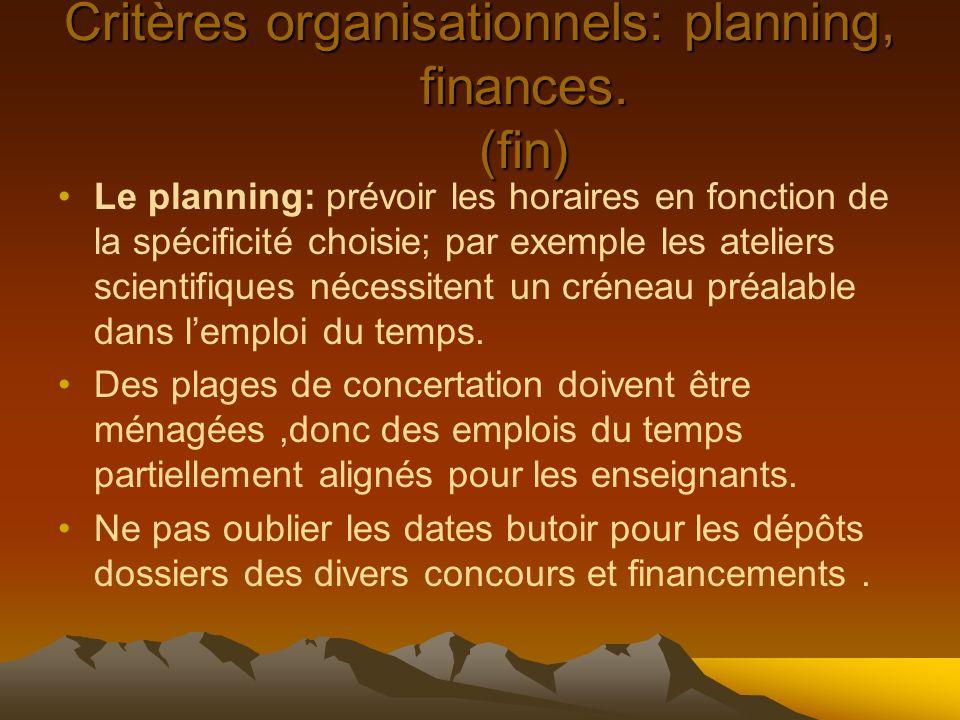 Critères organisationnels: planning, finances. (fin) Le planning: prévoir les horaires en fonction de la spécificité choisie; par exemple les ateliers