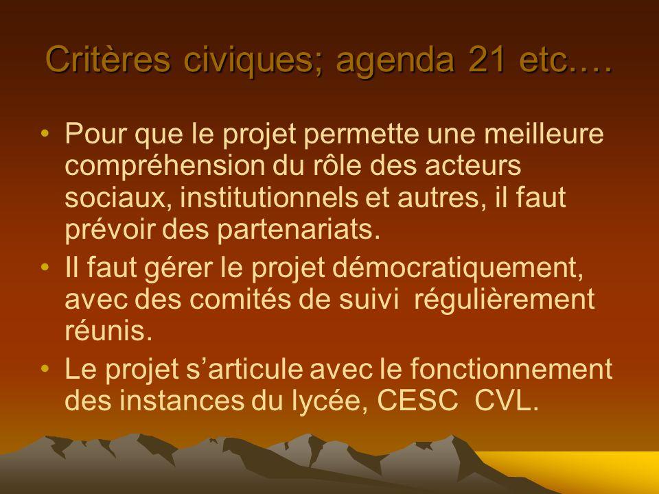Critères civiques; agenda 21 etc.… Pour que le projet permette une meilleure compréhension du rôle des acteurs sociaux, institutionnels et autres, il faut prévoir des partenariats.