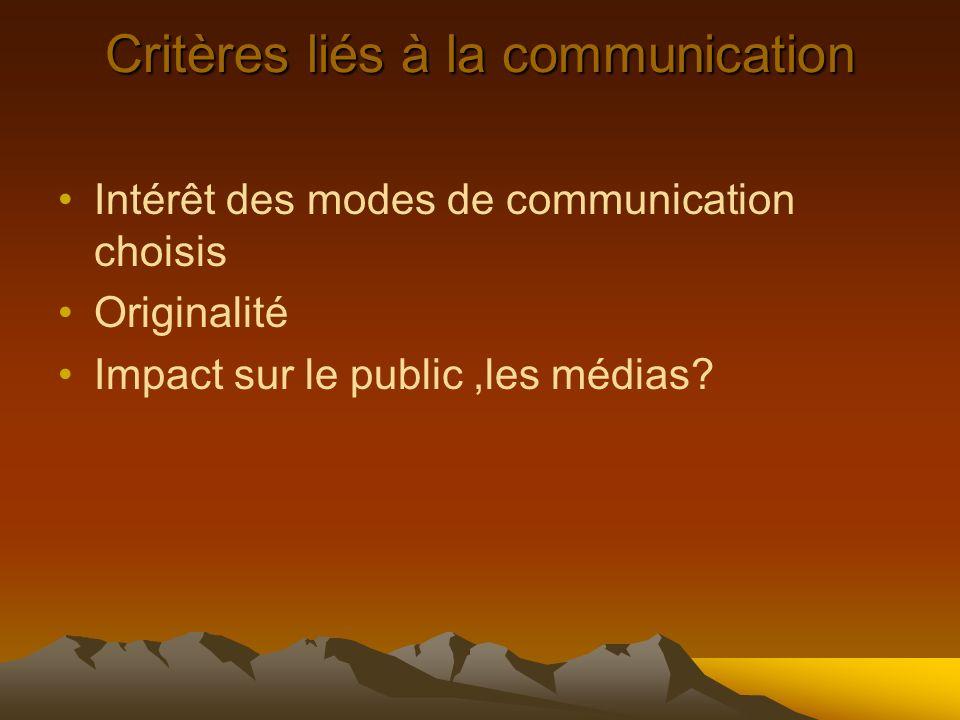 Critères liés à la communication Intérêt des modes de communication choisis Originalité Impact sur le public,les médias