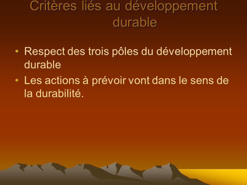 Critères liés au développement durable Respect des trois pôles du développement durable Les actions à prévoir vont dans le sens de la durabilité.