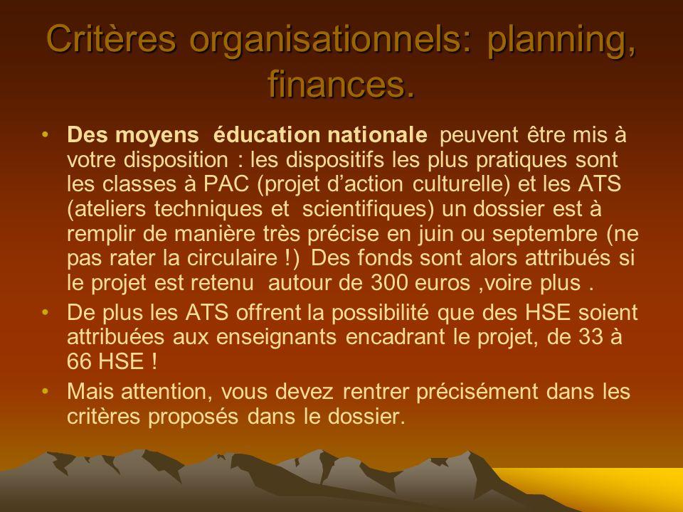 Critères organisationnels: planning, finances. Des moyens éducation nationale peuvent être mis à votre disposition : les dispositifs les plus pratique