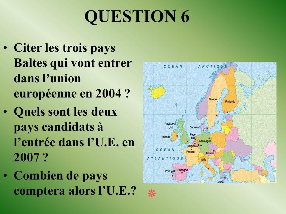 REPONSE 5 Le traité de Maastricht (Pays-Bas) juin 2004 (le 13 juin). Le parlement européen (désignation des nouveaux députés européens) La banque euro