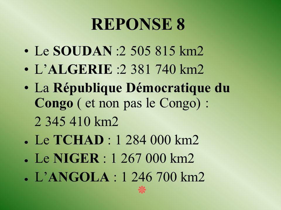 QUESTION 8 Citer trois des six pays les plus grands (superficie) du continent africain. ٭