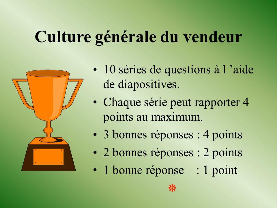 Culture générale du vendeur 10 séries de questions à l aide de diapositives.