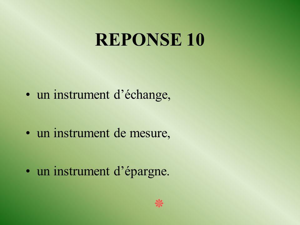 QUESTION 10 La monnaie est utilisée comme instrument. Citer les trois grandes fonctions de cet instrument. ٭