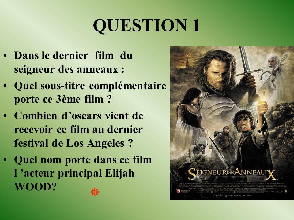 QUESTION 1 Dans le dernier film du seigneur des anneaux : Quel sous-titre complémentaire porte ce 3ème film .