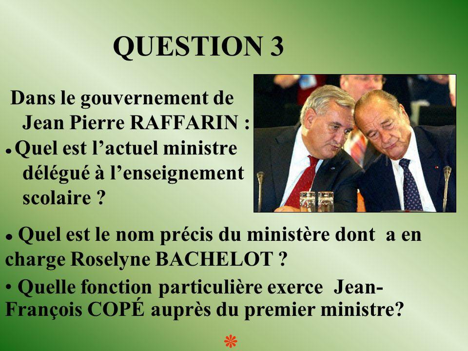 QUESTION 3 Dans le gouvernement de Jean Pierre RAFFARIN : Quel est lactuel ministre délégué à lenseignement scolaire .