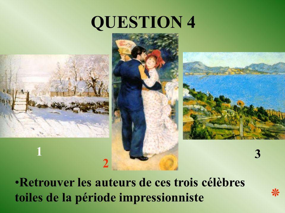 1 2 3 QUESTION 4 Retrouver les auteurs de ces trois célèbres toiles de la période impressionniste ٭