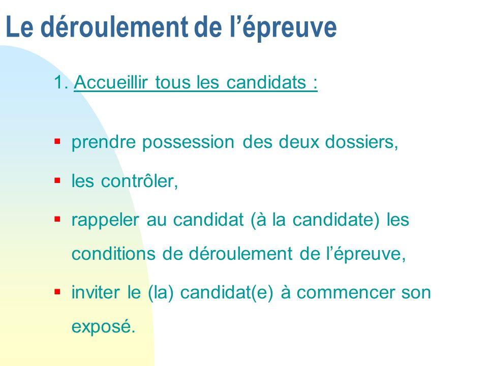 Le déroulement de lépreuve 1. Accueillir tous les candidats : prendre possession des deux dossiers, les contrôler, rappeler au candidat (à la candidat