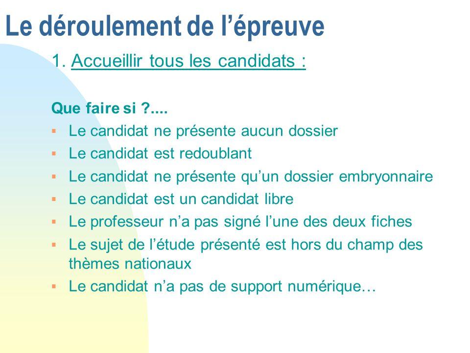 Le déroulement de lépreuve 1. Accueillir tous les candidats : Que faire si ?.... Le candidat ne présente aucun dossier Le candidat est redoublant Le c