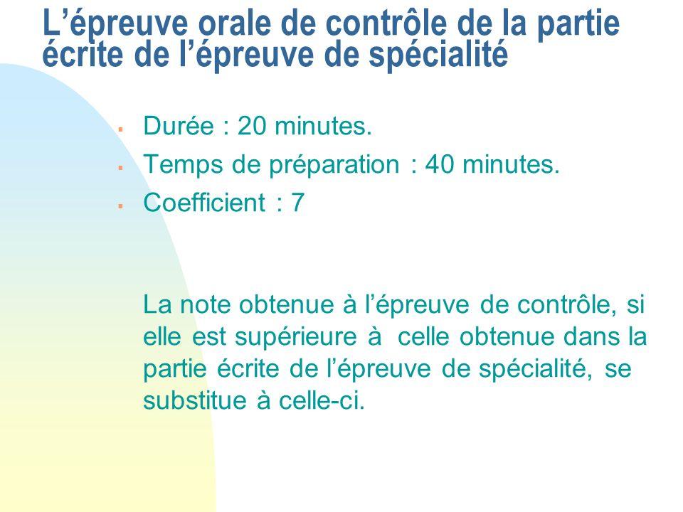 Durée : 20 minutes. Temps de préparation : 40 minutes. Coefficient : 7 La note obtenue à lépreuve de contrôle, si elle est supérieure à celle obtenue