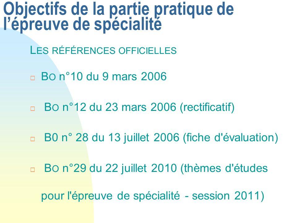 Objectifs de la partie pratique de lépreuve de spécialité L ES RÉFÉRENCES OFFICIELLES B O n°10 du 9 mars 2006 B O n°12 du 23 mars 2006 (rectificatif)