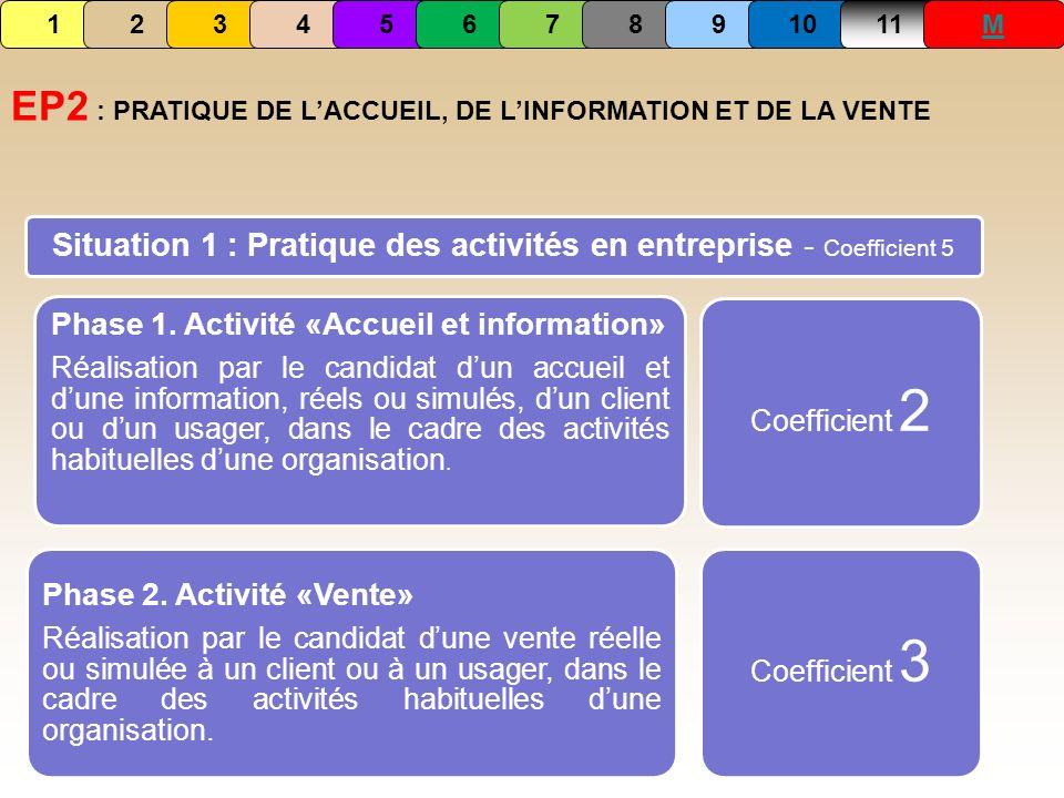 Situation 1 : Pratique des activités en entreprise - Coefficient 5 Phase 1. Activité «Accueil et information» Réalisation par le candidat dun accueil